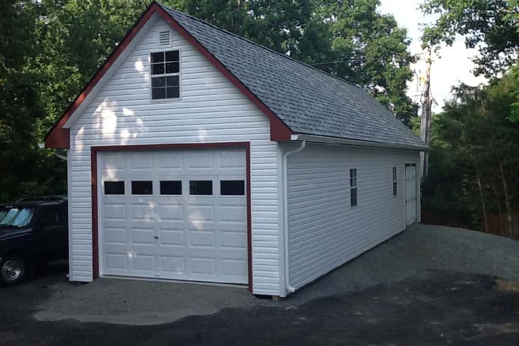 14'x44'  2 Story Garage  - White Vinyl Siding, Red Trim, Gray Shingle Roof