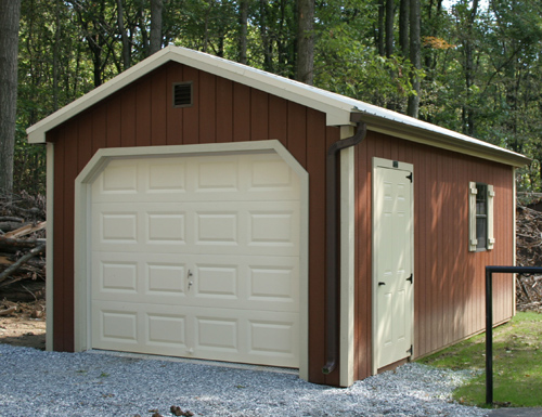 12'x20' Garage with Custom Brown Stair Duratemp Siding / Almond Trim / 