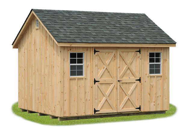 10'x12' A-Frame Shed with Board & Batten Siding / Natural / Charcoal Gray Shingles.  Options Shown: None