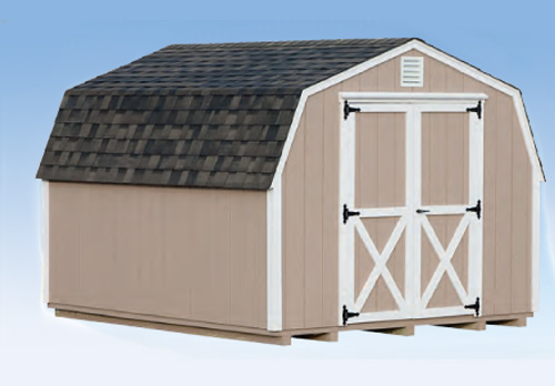 10'x12' Mini Barn with Buckskin Duratemp Siding / White Trim / Weathered Shingles.  Options Shown:  None