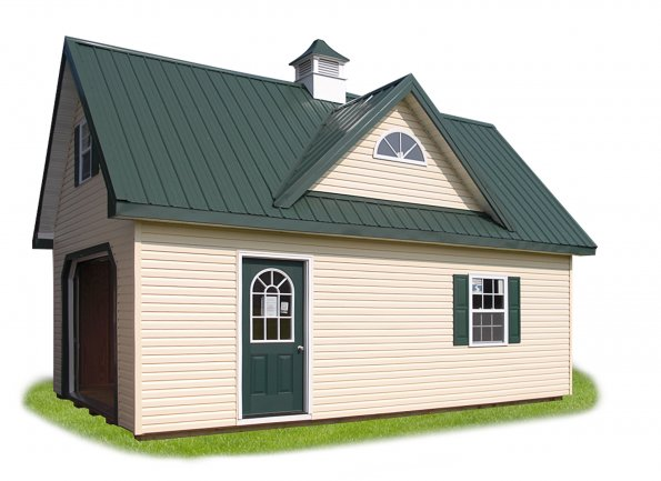 14'x24' Two Story Garage with Ivory Siding, Green Trim, Green Metal 