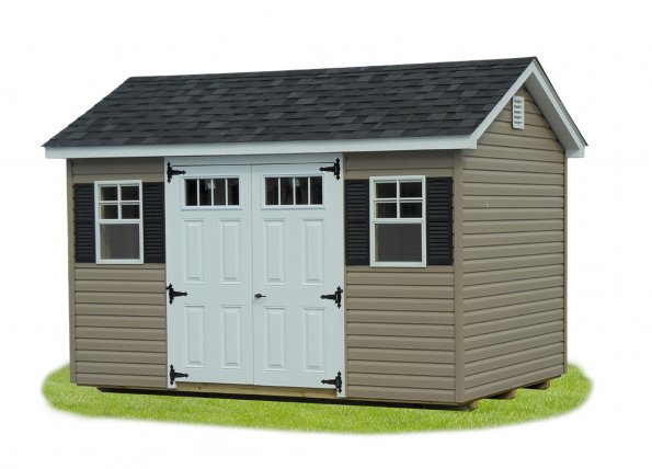8'x12' A-Frame Shed with Khaki Vinyl Siding / White Trim / Black Shingles.  Options Shown: Shutters / 4 Light Windows in Doors
