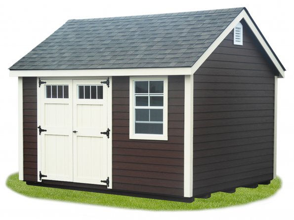 10'x12' A-Frame Shed with Brown Lap Siding / Navajo White Trim / Black 