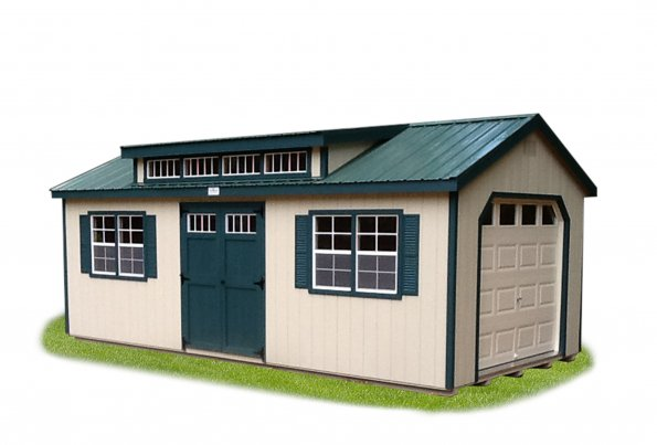 12'x24' Garage with Beige Duratemp Siding / Green Trim / Green Metal 