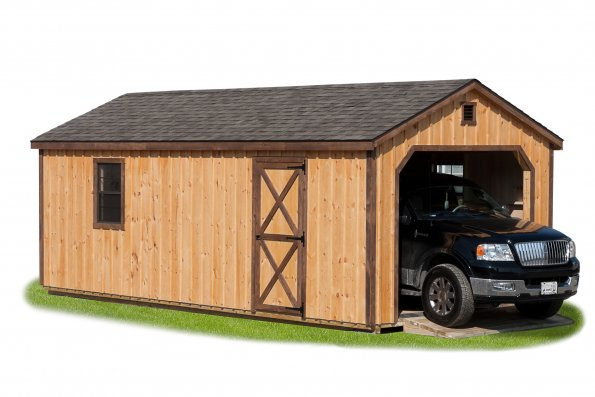 12'x24' Garage with Board and Batten Siding / Clar Stain / Weatherwood Shingle.  Options Shown:  Ramp