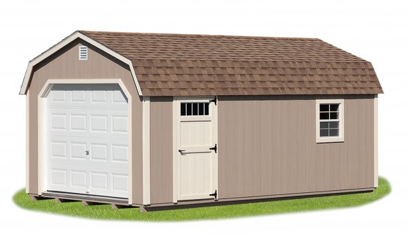12'x24' Garage with Buckskin Duratemp Siding, Navajo White Trim, Cedar Shingles.  Options Shown:  Window, Door