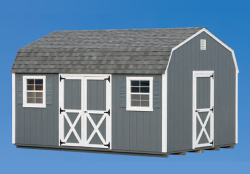 12'x16' Dutch Barn with Gray Duratemp Siding / White Trim / Gray Shingles.  Options Shown: Additional 3' Door