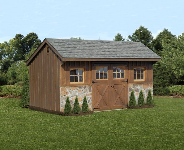 10'x16' Quaker Shed with Board and Batton Siding, Mushroom Stain, 