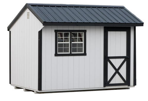 8'x12' Quaker Shed with White Duratemp Siding / Black Trim / Black Metal Roof.  Options Shown: Double Window