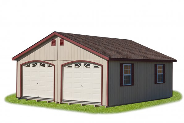 22'x24' Doble Wide Modular with Tan Duratemp Siding, Red Trim, Dual 