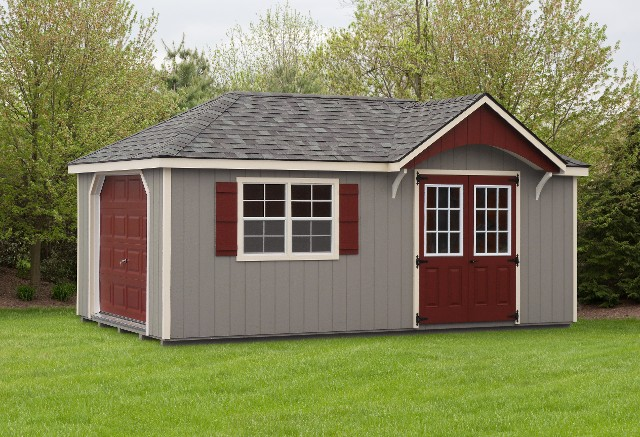10'x20' Garage with Clay Duratemp Siding / Navajo White Trim / Gray 