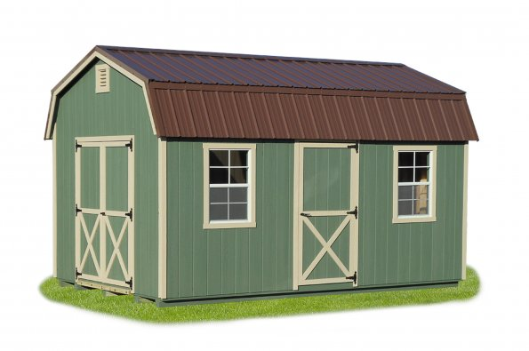 10'x16' Dutch Barn with Peque Green Duratemp Siding / Almond Trim / Brown Metal Roof.  Options Shown: Additional 3' Door