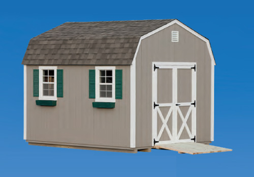 10'x12' Dutch Barn with Clay Duratemp Siding / White Trim / Weathered Shingles.  Options Shown: Shutters / Ramp / Flower Boxes