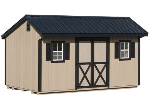 10'x16' Quaker Shed with Buckskin Duratemp Siding / Black Trim / Black Metal Roof.  Options Shown: Shutters