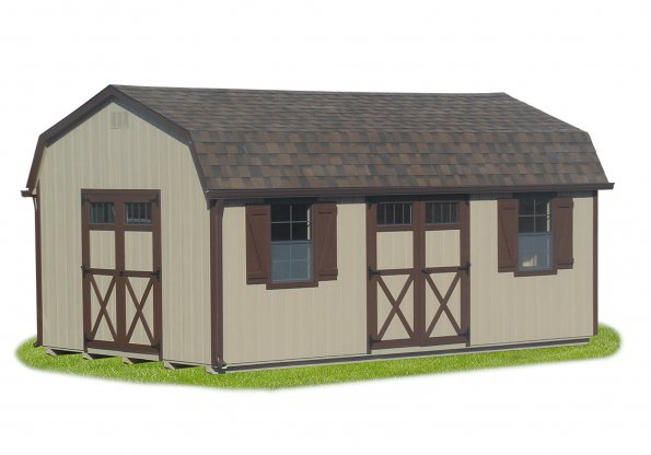 12'x24' Dutch Barn with Buckskin Duratemp Siding / Brown Trim / Dual 