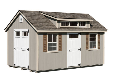 10'x16' Victorian Shed with Transom Dormer / Clay Duratemp Siding / 