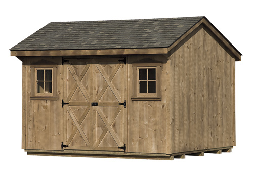 10'x12' Quaker Shed with Pine T & G Siding / Mushroom Stain / Weatherwood Shingle.  Options Shown: 4 Light Wood Windows