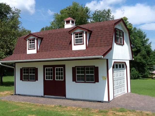 14'x26' Two Story Garage with White Duratemp Siding / Red Trim / Red 