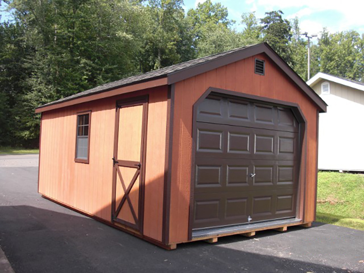 12'x24' Garage with Cedar Stain Duratemp Siding / Brown Trim / Dual Brown Shingles.  Options Shown:  Brown Garage Door