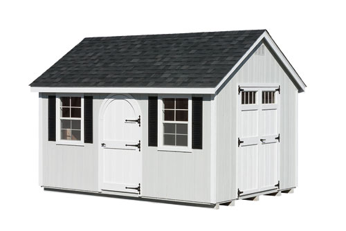 10'x14' A-Frame Shed with GP Grey Duratemp Siding / White Trim / Black 