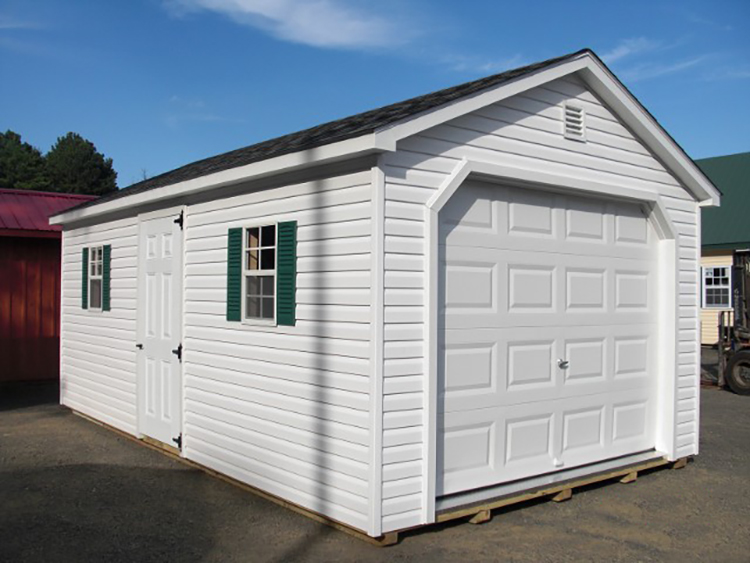 12'x20' Garage with White Vinyl Siding and Trim / Black Shingles.  Options Shown:  Shutters