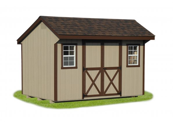 8'x12' Quaker Shed with Buckskin Duratemp Siding / Brown Trim / Dual Brown Shingles.  Options Shown: None