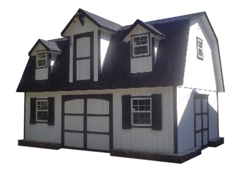 16'x26' Two Story Garage Built On-Site with White Duratemp Siding / 