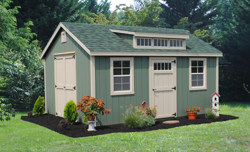 12'x16' Victorian Shed with Transom Dormer / Pequea Green Duratemp 