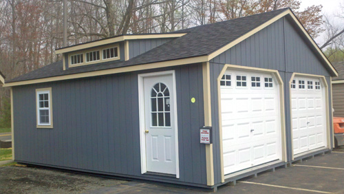 22'x24' Modular Garage with Dark Gray Duratemp Siding / Almond Trim / 