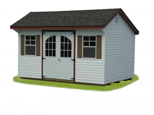 8'x12' Quaker Shed with Light Gray Duratemp Siding / White Trim / Black 