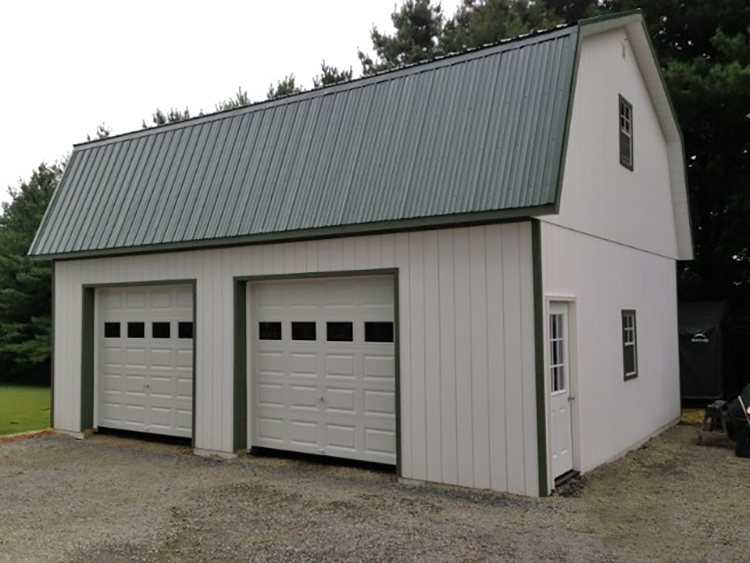 24'x36' Two Story Garage Built On-Site with White Duratemp Siding / 