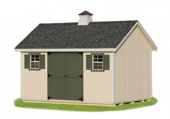 10'x12' A-Frame Shed with Cream Duratemp Sidoing / White Trim / Gray Shingles.  Options Shown: Cupola / Shutters / Painted Doors