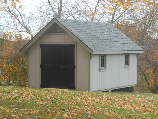 10'x16' A-Frame Shed with Buckskin Duratemp Siding / Clay Trim / 
