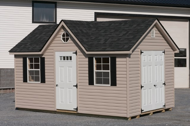 10'x16' Victorian Shed with Peak Dormer / Tan Duratemp Siding / White 