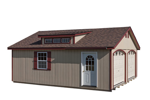 22'x24' Modular Garage with Tan Duratemp Siding / Red Trim / Dual Brown 
