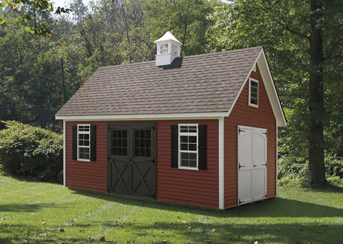 12'x24' A-Frame Shed with Red Vinyl Siding / White Wood Trim / Black 