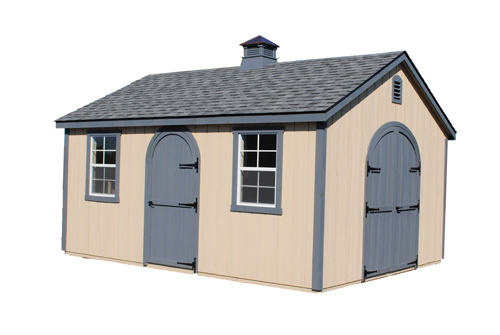 12'x20' A-Frame Shed with Tan Duratemp Siding / Dark Gray Trim / 