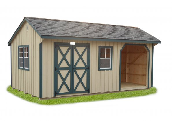 12'x20' Quaker Shed with Beige Board & Batten Siding / Green Trim / 