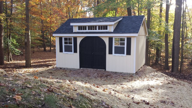 10'x14' Victorian Shed with Transom Dormer / Tan Duratemp Siding / White