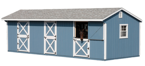 Horse Barn / 2 - 12' Stalls / 6' Feed Room / Blue Duratemp Siding White 