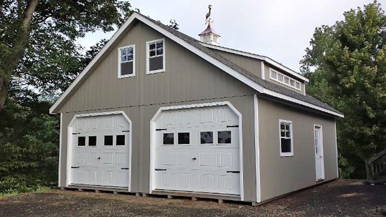 24'x28' Two Story Modular Garage with Clay Duratemp Siding / White Trim /