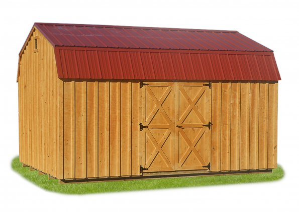 10'x16' Dutch Barn with Board & Batten Siding / Clear Stain / Metal Roof.  Options Shown: None