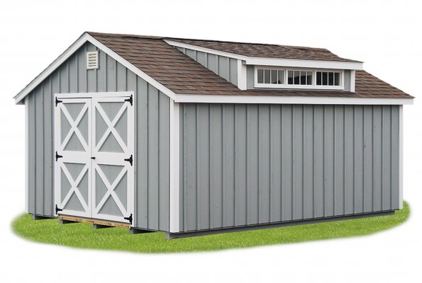 12'x16' Victorian Shed with Transom Dormer / Light Gray Board & Batten Siding / White Trim.  Options Shown:  Ridge Vent