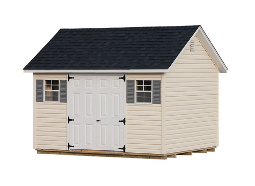 10'x12' A-Frame Shed with Prairie Wheat Vinyl Siding / White Trim / Black Shingles.  Options Shown: Shutters