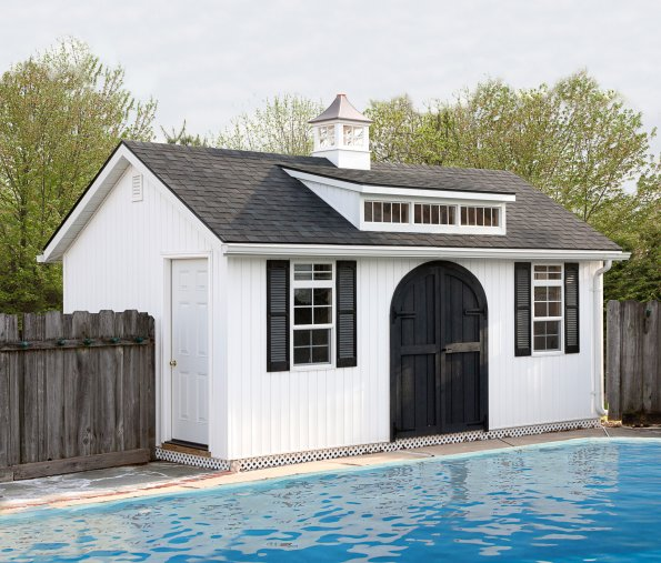 12'x20' Poolside Victorian Shed with Transom Dormer / White Vertical 