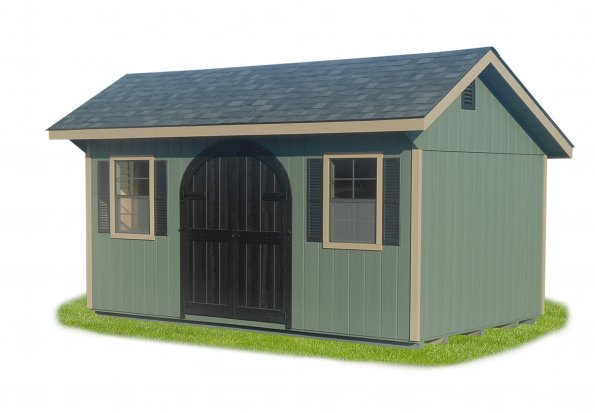 10'x16' Quaker Shed with Pequea Green Duratemp Siding / Almond Trim / 