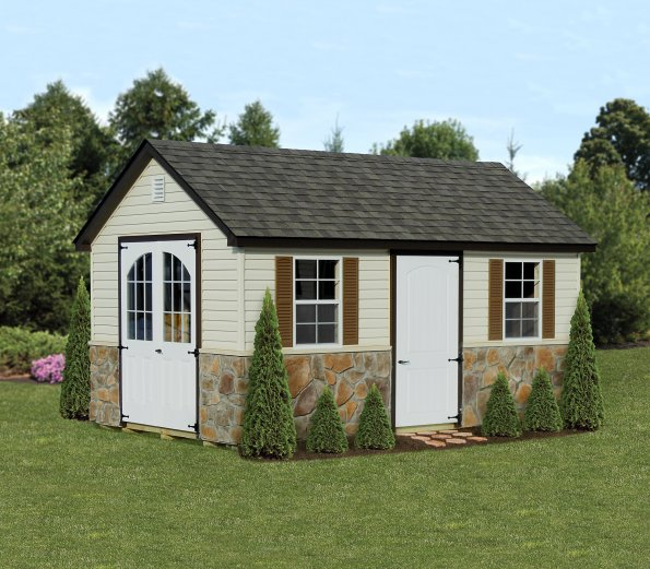 10'x16' A-Frame Shed with Ivory Vinyl Siding / Bronze Trim / Weatherwood