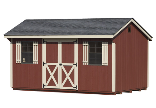 10'x16' Quaker Shed with Red Duratemp Siding / Almond Trim / Black Shingles.  Options Shown: Wood Shutters