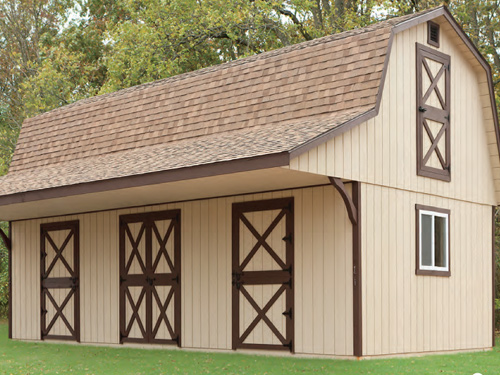 6' Feed Room / Beige Duratemp Siding / Brown Trim / Rustic Cedar 