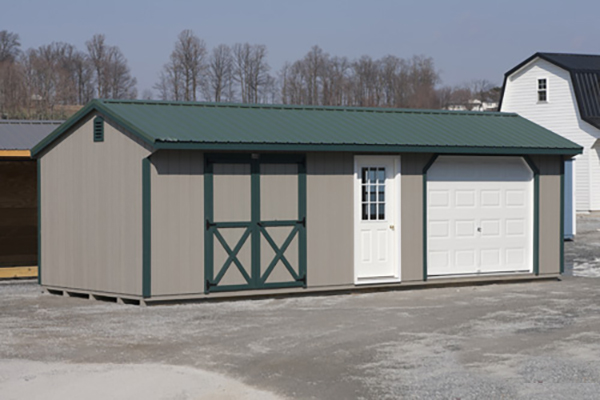 11'x24' Garage with Clay Duratemp Siding / Green Trim / Green Metal 